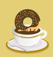 beker met zwarte koffie en donut vector