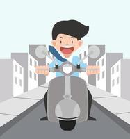 jonge man zijn motorfiets buiten rijden vector