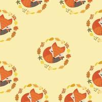 schattige vos met bladeren decoratie naadloze patroon