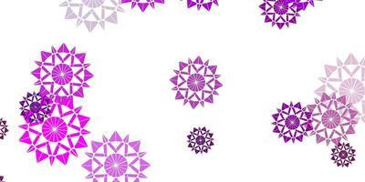 lichtroze vector mooie sneeuwvlokkenachtergrond met bloemen.