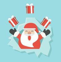 Kerstman met cadeau in gescheurd papier gat vector