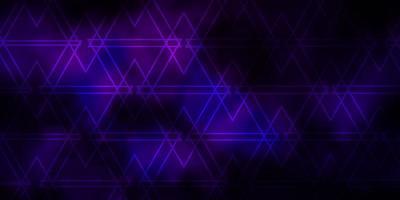 donkerroze vectorpatroon met lijnen, driehoeken. vector