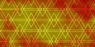 lichtoranje vectorpatroon met lijnen, driehoeken. vector