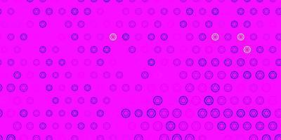 lichtroze, blauwe vectorachtergrond met occulte symbolen. vector