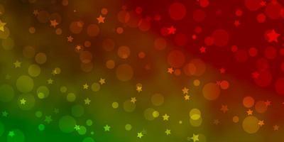 lichtgroen, rood vector sjabloon met cirkels, sterren.