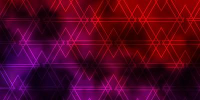 lichtroze, rood vector sjabloon met lijnen, driehoeken.