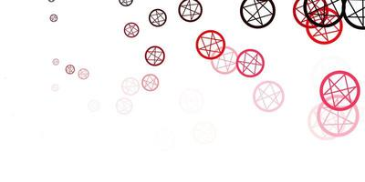 lichtroze, rode vectortextuur met godsdienstsymbolen.