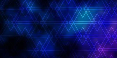 donkerroze, blauwe vectorlay-out met lijnen, driehoeken. vector