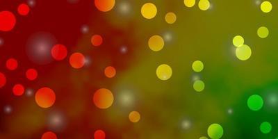 lichtroze, gele vector achtergrond met cirkels, sterren.