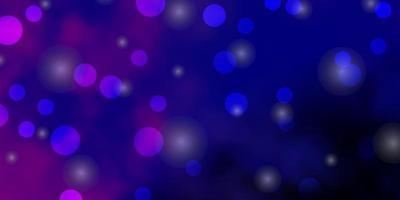 donkerroze, blauwe vector sjabloon met cirkels, sterren.