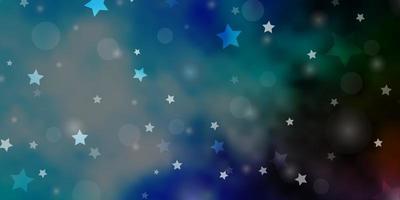 lichtblauwe, groene vectorlay-out met cirkels, sterren. vector