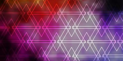donkerroze, gele vectorachtergrond met lijnen, driehoeken. vector