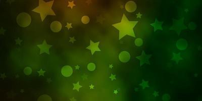 donkergroene, gele vector achtergrond met cirkels, sterren.