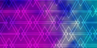 lichtroze, blauwe vectorlay-out met lijnen, driehoeken. vector