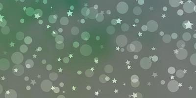 lichtgroene vectorlay-out met cirkels, sterren. vector