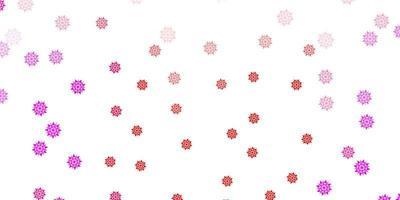 lichtroze, rode vector mooie sneeuwvlokkenachtergrond met bloemen.