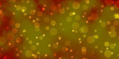 lichtoranje vectorpatroon met cirkels, sterren. vector