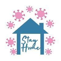 blijf thuis campagne belettering in huis met deeltjes vlakke stijl vector illustratie ontwerp