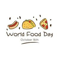 wereldvoedseldag viering belettering met heerlijke fastfood vlakke stijl