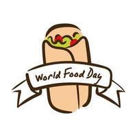 wereldvoedseldag viering belettering met Mexicaanse burrito vlakke stijl