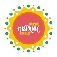 nationale hispanic erfgoed belettering in kant vlakke stijl