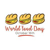 wereldvoedseldag viering belettering met sandwich vlakke stijl