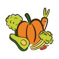 verse groenten platte stijlicoon
