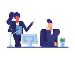 zakenman en zakenvrouw bij bureau vector ontwerp