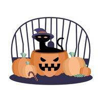 Halloween-kat met hoed op pompoen vectorontwerp