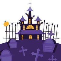halloween-huis bij begraafplaats vectorontwerp