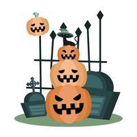 Halloween-kat met hoed op pompoenen vectorontwerp