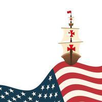 Christopher Columbus-schip met het vectorontwerp van de VS.