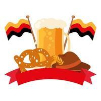 oktoberfest glas met krakeling en hoed vector ontwerp