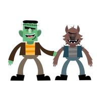 halloween frankenstein en weerwolf cartoon vector ontwerp