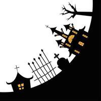 halloween-huizen met boom, graf en poort vectorontwerp