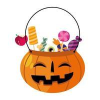 Halloween-pompoenkom met suikergoed vectorontwerp
