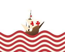 christopher columbus schip op het gestreepte zee vector ontwerp