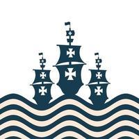 christopher columbus schepen op het gestreepte zee vector ontwerp