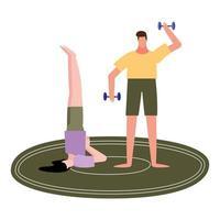 vrouw doet yoga op tapijt en man tillen gewichten vector ontwerp