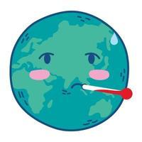 planeet aarde met thermometer vector