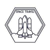 ruimte zeshoek badge met ruimteschip vliegende lijnstijl
