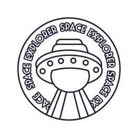 ruimte ronde badge met ufo vliegende lijnstijl