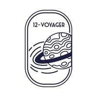 ruimtebadge met Saturnus-planeet en 12 Voyager-lijnstijl