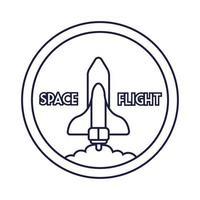 ruimte ronde badge met ruimteschip vliegende lijnstijl
