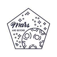 ruimte vijfhoek badge met mars planeet lijnstijl