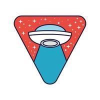 ruimte driehoekige badge met ufo vliegende lijn en vulstijl