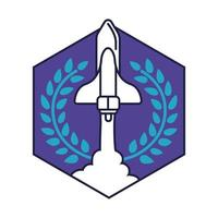 ruimte zeshoekige badge met ruimteschip vliegende lijn en vulstijl