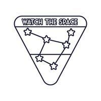ruimtebadge met sterrenbeeld lijnstijl