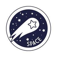ruimtebadge met vallende ster lijnstijl