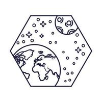 ruimtebadge met de lijnstijl van de planeet aarde en de maan